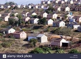 view of low cost township houses fitted with solar heating at