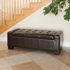 ravello brown bonded leather storage ottoman