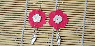 felt earrings how to make bright felt flower earrings with pendants pandahall