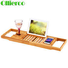 ollieroo bathtub rack bamboo shelf shower tub book tray holder