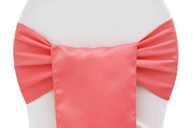 Chair Sashes Lamour Satin Sash Coral At Cv Linens Cv Linens