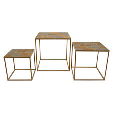 set of three end tables three hands 23 75 in x 23 75 in brown wood and metal accent tables