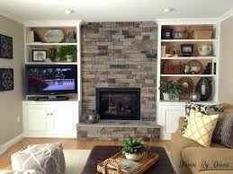 shelves linear fireplace with long hearth and mantle tv on the