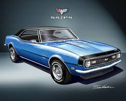 blue 68 camaro 1968 camaro ss rs print poster by danny whitfield