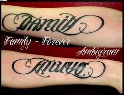 family forever ambigram tattoos on arm tattooshunter com