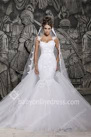 Chapel Train Wedding Dresses 2017 Wedding Dresses Mermaid Applique Lace Spaghetti Straps Sheer
