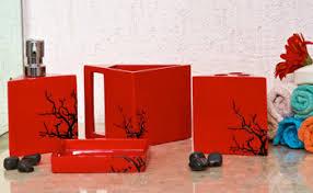Red And Black Bathroom Accessories Sets Bathroom Accessories Red Interior Design