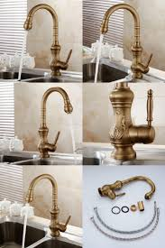 silver antique brass kitchen faucet single hole two handle pull