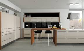 Furniture Kitchen Cabinets Odyssey Acrylic Cream Gloss Fresh Colours With Fixed Stools Around