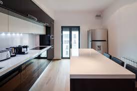 extraordinary sleek apartment kitchen design white oak flooring