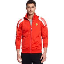 ferrari clothing men lyst puma scuderia ferrari track jacket in red for men