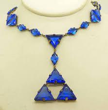 blue glass necklace vintage images Art deco cobalt blue czech glass geometric necklace jpg