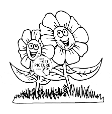 two cartoon flowers coloring page for kids flower coloring pages
