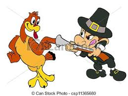 stock illustration of thanksgiving turkey and pilgrim