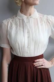 vintage blouse 1950s blouse ivory blouse vintage by dethrosevintage