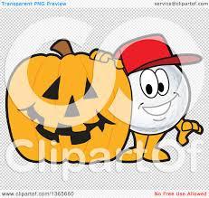 halloween pumpkin transparent background clipart of a golf ball sports mascot character with a halloween