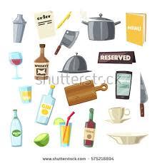 set vector kitchen equipments on shelf stock vector 567119416
