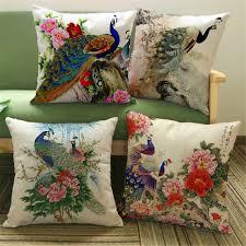 coussin décoratif pour canapé chinois classique paon coussin décoratif couvre linge coloré paon