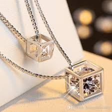 diamond box necklace images Wholesale diamond box 925 cube rhinestone crystal pendant silver jpg