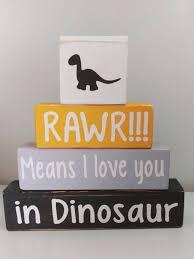 Dinosaur Nursery Decor Baby Boy Nursery Decor Dinosaur Theme Blocks Rawr Means I
