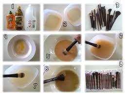 clean makeup brushes antibacterial dish washing liquid or hand wash olive