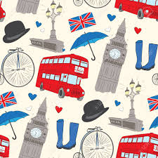 British Flag Boots Vector Hand Drawn London Pattern With Elements Big Ben Clock