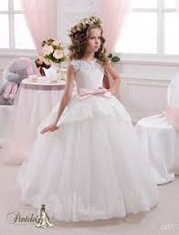 Wedding Dresses For Kids 2016 Miniature Bride Gowns For Little Girls Sheer Neck Appliques