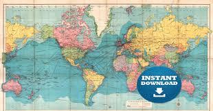 World Map Poster Large Digital Old World Map Hight Printable Download Vintage