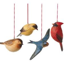 tree ornaments faux wood bird ornament set of four