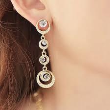 non pierced earrings fashionable rhinestone clip on earrings water droplets moon