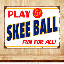 Game Room Wall Decor by Play Skee Ball 5 Cents Arcade Metal Sign Game Room Decor
