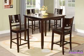f2243 5 pieces wood dining table set in brown finish