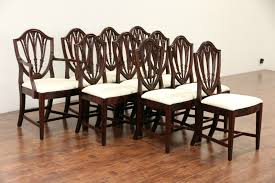 mahogany dining room table sold set of 10 shield back 1940 vintage mahogany dining chairs