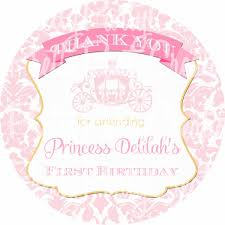pink gold damask princess carriage favor tags birthday or