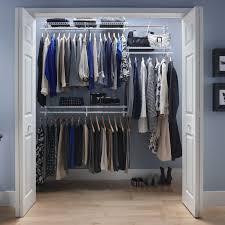 simple dressing room with closetmaid shelftrack closet organizer