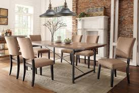 Fabric Chairs For Dining Room Classic Upholstered Dining Chairs With Wooden Table In Industrial