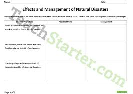 natural disasters effects and management worksheet teaching