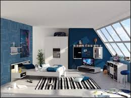blue wall paint decoration with pitched ceiling windows design in