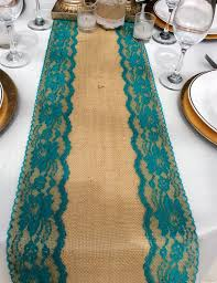 Extra Wide Table Runners Burlap Table Runner With Teal Jade Lace 5ft 10ft X 10