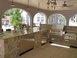 Outside Kitchen Ideas Kitchen Design L Shape Stone Outdoor Kitchen On Concrete Floor