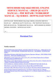 mitsubishi s4q s4q2 diesel engine service manual high quality