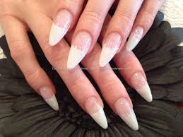 stiletto white tips with glitter nail art nail designs