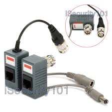 isecurity101 1 pair bnc to rj45 cat5 cable video power balun