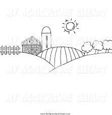 vector agriculture clipart of a black and white scene of rolling
