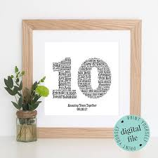 10 year wedding anniversary gift 10th anniversary gift word printable gift 10 year
