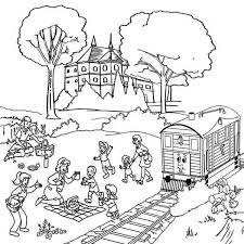 summer vacation coloring pages family vacation beside railroad coloring page color luna