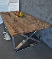 Reclaimed Timber Dining Table Large Industrial Rustic Recycled Timber Steel Base Refectory
