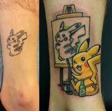 best tattoo cover up pikachu gone wrong turns into a masterpiece