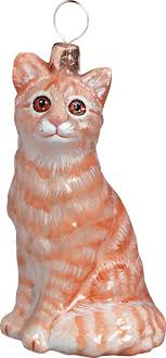 pet set orange tabby cat ornament glass for the
