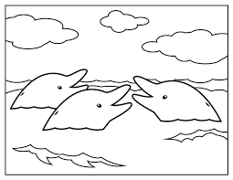 dolphins appear in surface water coloring pages for kids bx4